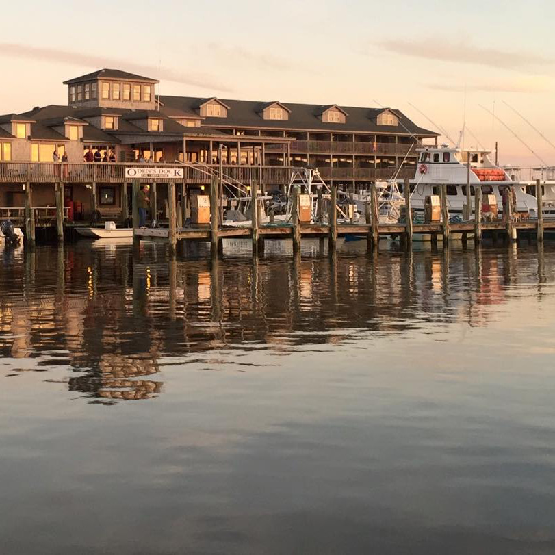 Breakwater Inn seen from the water at Oden's Dock